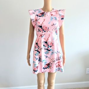 ASOS back zip pink Floral dress